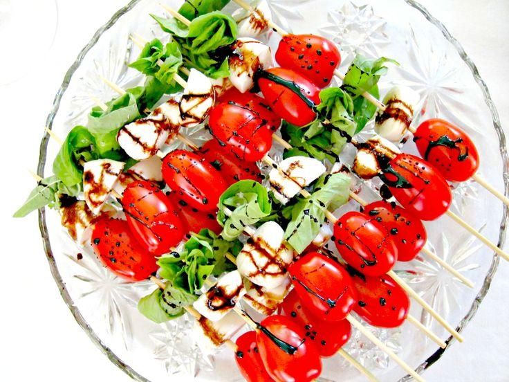 Caprese salad skewers balsamic vinegar | Diet What | Pinterest