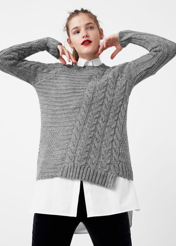 Contrasting knit sweater - Cardigans and sweaters for Woman | MANGO USA