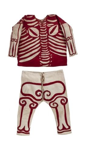 Part of a Cham Dance skeleton costume worn by Tibetan buddhist monks: Tibet, 19th-early 20th c. National Museums Scotland