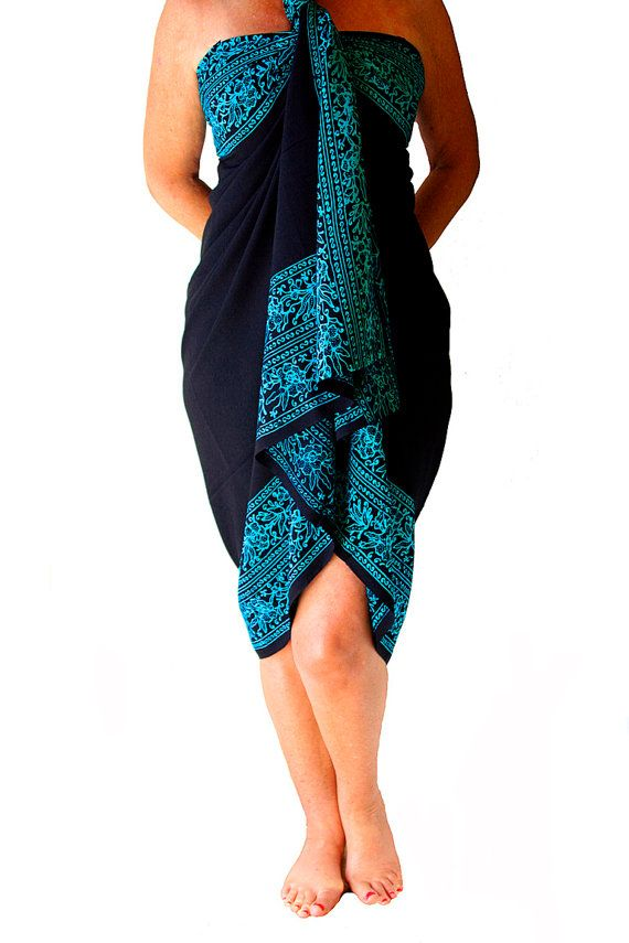Beach Sarong Dress Womens Swimwear - Swimsuit Coverup Batik Sarong Pareo Wrap Skirt Womens Clothing Beach Swim and Surf Clothes Gift for Her