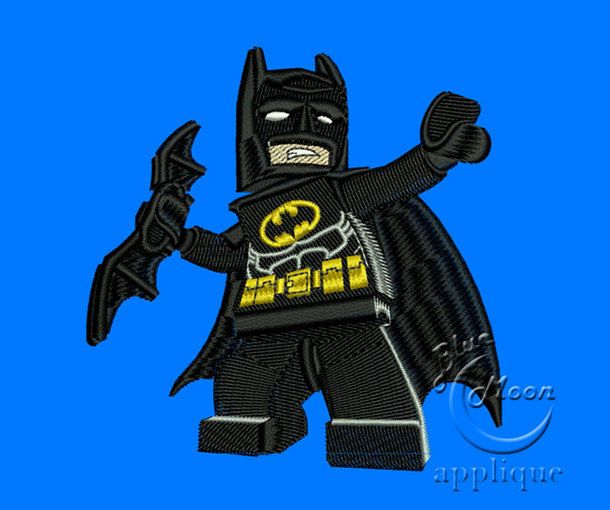 Cute lego batman Design for Embroidery Machines 4x4  by embroiderycorner, $4.60 USD