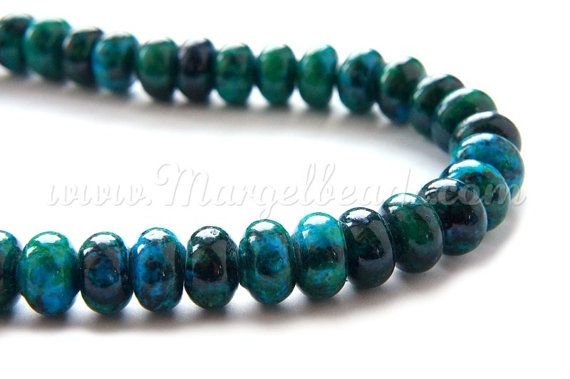 €5.80 1 Strand Green Chrysocolla Rondelles 12mm by Margelbeads on Etsy