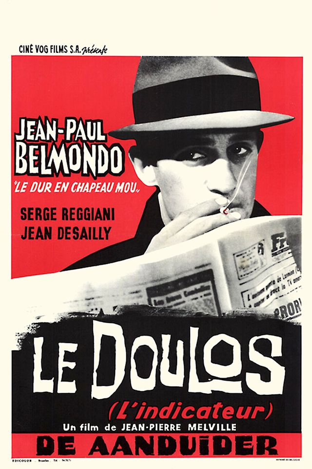 """Le doulos (1963) I Nicolas Hayer dir. of photography I   Stars: Jean-Paul Belmondo, Serge Reggiani, Jean Desailly I """"Burglar Maurice Faugel has just finished his sentence. He murders Gilbert Vanovre, a receiver, and steals the loot of a break-in. He is also preparing a house-breaking, and his friend Silien brings him the needed equipment. But Silien is a police informer ... A movie whose """"all characters are two-faced, all characters are false"""", according to director Jean-Pierre Melville.""""…"""