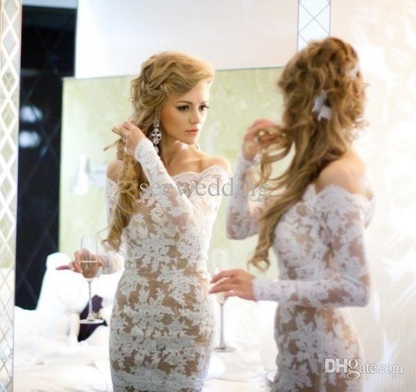 Wholesale Short Lace Dresses - Buy Sexy Lace Cocktail Dresses 2014 Off the Shoulder Appliques White Nude Cocktail Party Dresses Long Sleeve Women Club Wear Fashion Dresses, $135.0 | DHgate
