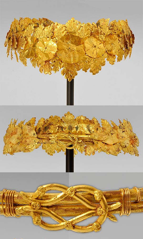 Hellenistic Gold Oak Wreath, c. 4th-3rd Century BC. A Greek Hellenistic diadem wreath comprising numerous projecting sprays of sheet-gold oak leaves in two sizes with serrated edges and veins. The most famous of such wreaths is the example from Vergina in the tomb of Philip II of Macedon, father of Alexander the Great. The oak leaves may symbolize the power of Zeus, who was often represented by the oak tree. This is a finely detailed example of the type executed with great skill.