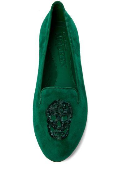 Alexander McQueen Suede Slipper in Emerald