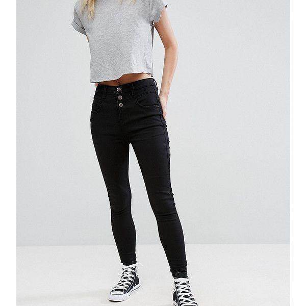 New Look Petite High Waist Skinny Jean ($29) ❤ liked on Polyvore featuring jeans, black, petite, petite high waisted skinny jeans, super high rise skinny jeans, petite skinny jeans, high waisted skinny jeans and high-waisted skinny jeans