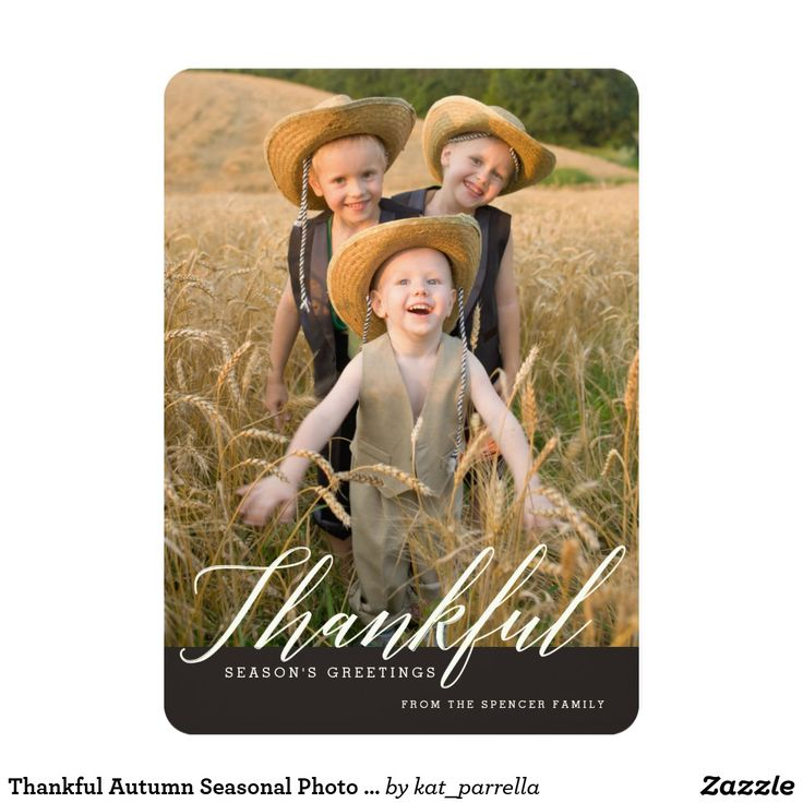 Thankful Autumn Seasonal Photo Greeting Card Creamy cursive greeting sends thankful wishes to family and friends this season in this casually elegant Thanksgiving photo card that features your vertical photo on the front and space for additional customization on the back.