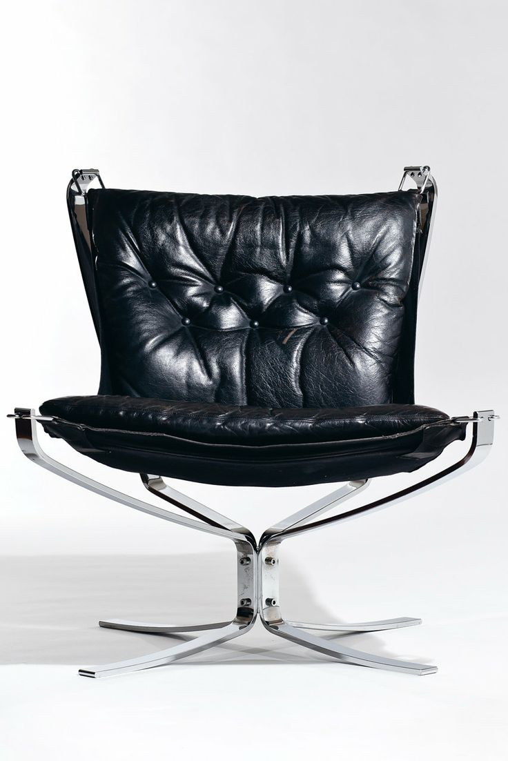 norwegian vintage office chair. Made From Buffalo Leather, Metal, And Glass, The Falcon Lounge Chair Was Designed Norwegian Vintage Office