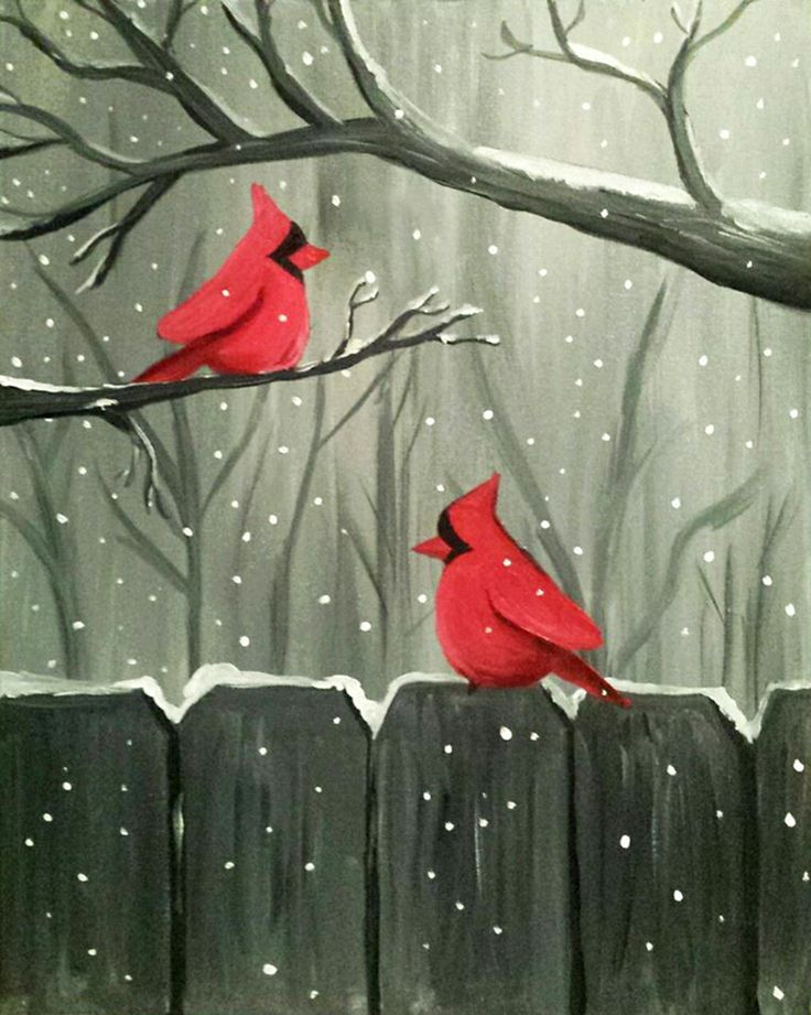 Fun winter themed painting party idea or tutorial.  Red cardinals on an old fence in the snow.
