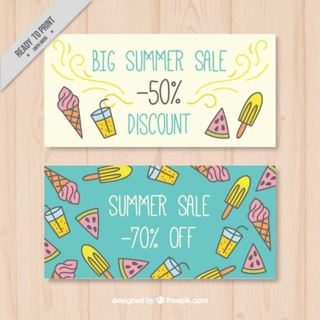 Free Hand Drawn Sale Summer Banners #freebies