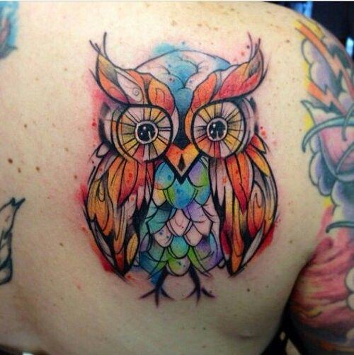 Owl watercolor tattoo