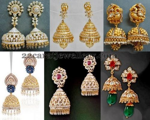Jewellery Designs: Diamond Gemstone and Gold Jhumkas Sets