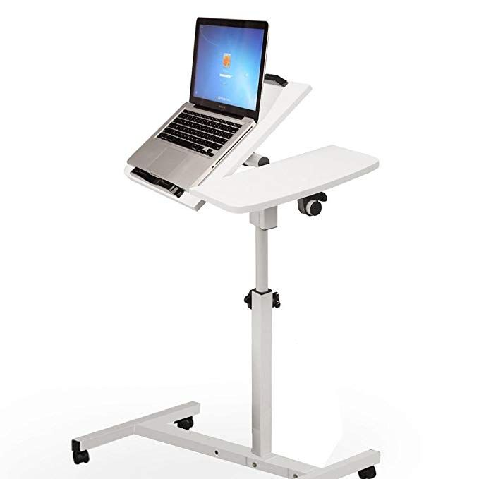 Tangon Mobile Laptop Desk Cart Laptop Rolling Cart Table Height Adjustable Notebook Computer Stand White Portable Laptop Desk Laptop Desk Simple Computer Desk