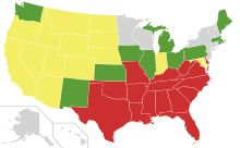 U.S. States, by the date of repeal of anti-miscegenation laws: gray - no laws passed; green - 1780 to 1887; yellow - 1948 to 1967; red - after 1967