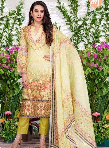 MF 64003 - Yellow Color Glazed Cotton Designer Suit