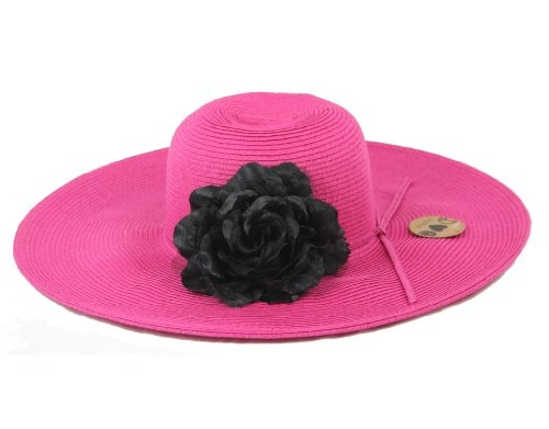 Have it All Large Brim Fuchsia Hat with Black Flower: Black Flowers