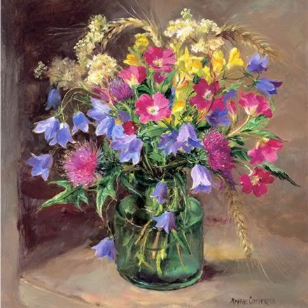 Flowers from the Hedgerow - Blank Card by Anne Cotterill Flower Art