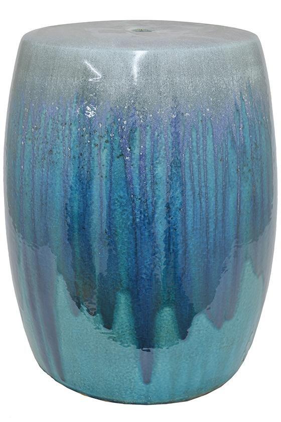 "Ocean Garden Stool - Ceramic Garden Stool - Garden Stools | 18""Hx14.5""DIAMETER HomeDecorators.com"