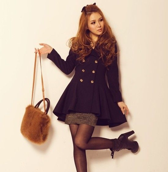 Winter Women's fashion Slim casual double-breasted wool coat pla
