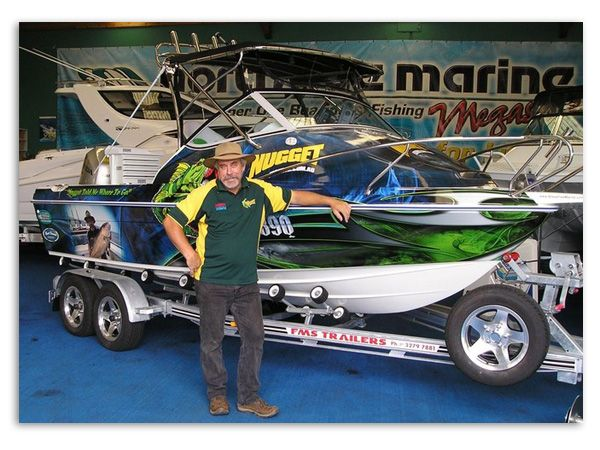 Dave Downie's Nugget Fishing Boat - a custom boat wrap by Boat Names Australia
