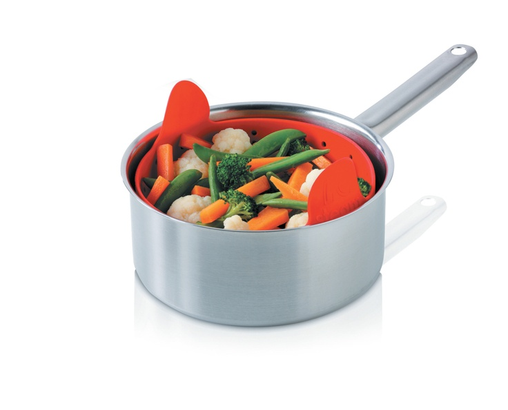 Zeal Silicone Steamer! Great to use as a steamer, can lift right out of the pot without worrying about it getting hot. Also great to use as a colander, can switch it inside out. By Kitchen Innovations.