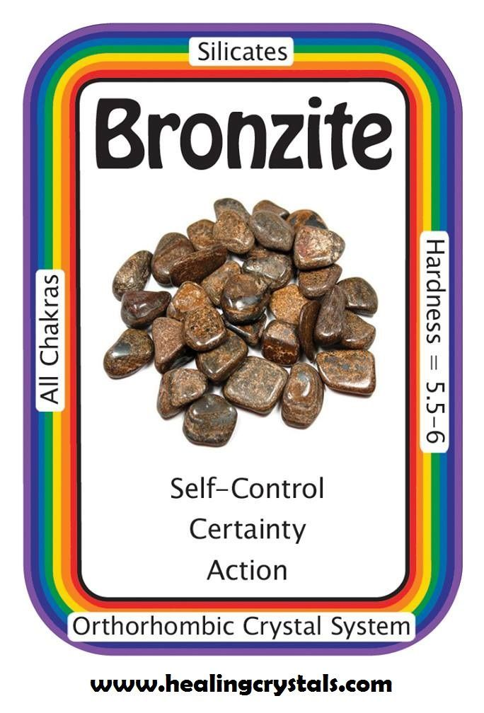 """Bronzite, """"I send out loving, thoughtful energy and I receive the same in return.""""  A grounding stone, Bronzite instills a sense of """"stillness"""", allowing you to be more objective, seeing the bigger picture, and making a more informed decision. It can also dispel negative energy, especially for those under """"psychic attack"""", sending the negativity back to its sender.  http://www.healingcrystals.com/advanced_search_result.php?dropdown=Search+Products...&keywords=bronzite  Code HCPIN10 = 10% off"""