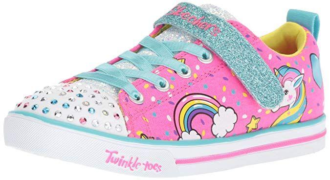 Skechers Kids Girls Sparkle Lite Unicorn Craze Sneaker Neon Pink