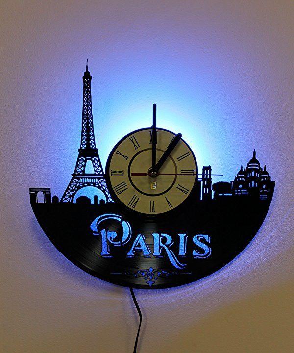 Wall Lights Night Light Led Light Wall Lamp Paris Wall Clock Cool Bedroom Wall Art Decor Paris Wall Decor Paris Wall Clock Wall Clock