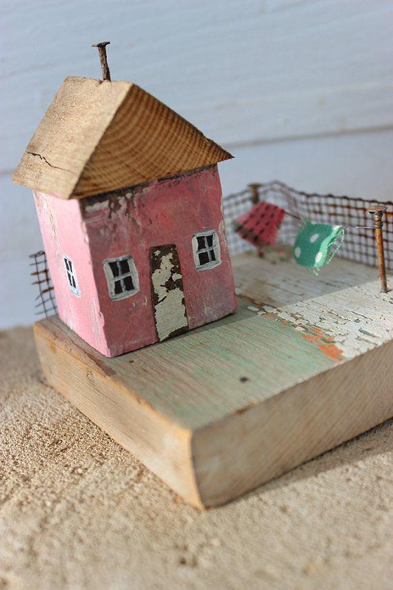folk art mixed media 3 d little wooden house laundry pink and green sculpture k d milstein fadedwest