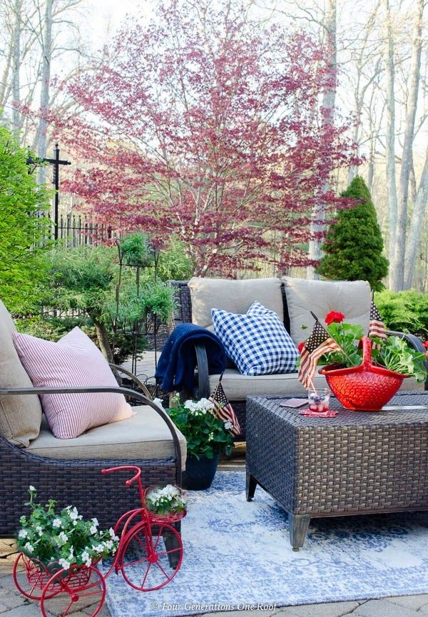 Classy Patriotic Decor Ideas On Our Patio Blue Outdoor Rug