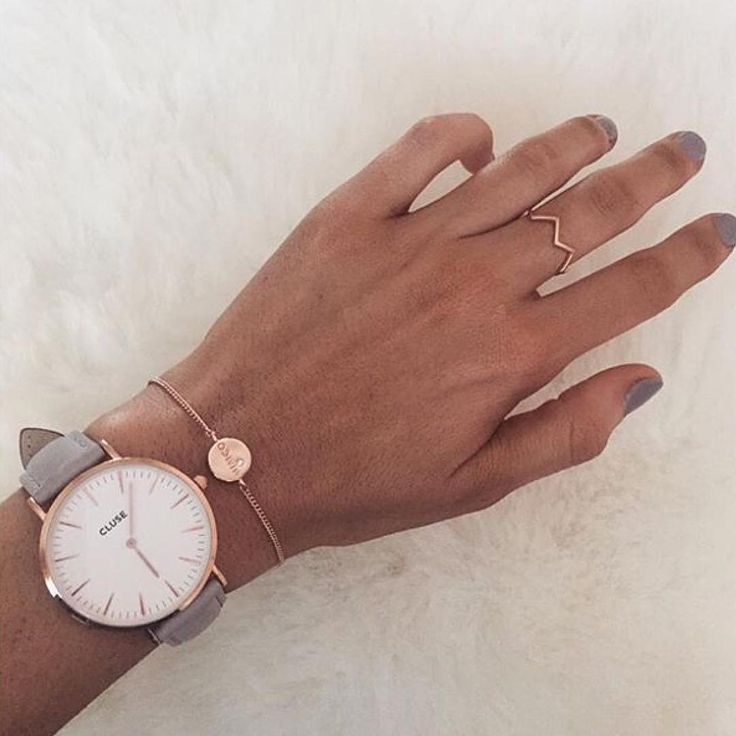"""""""Rose gold beauty CLUSE watch minimal grey white fashion accessories style"""""""