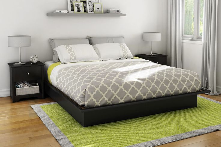 South Shore Bed Frame Platform Full Queen King Size Sizes Black Color Bedroom #SouthShore #Contemporary