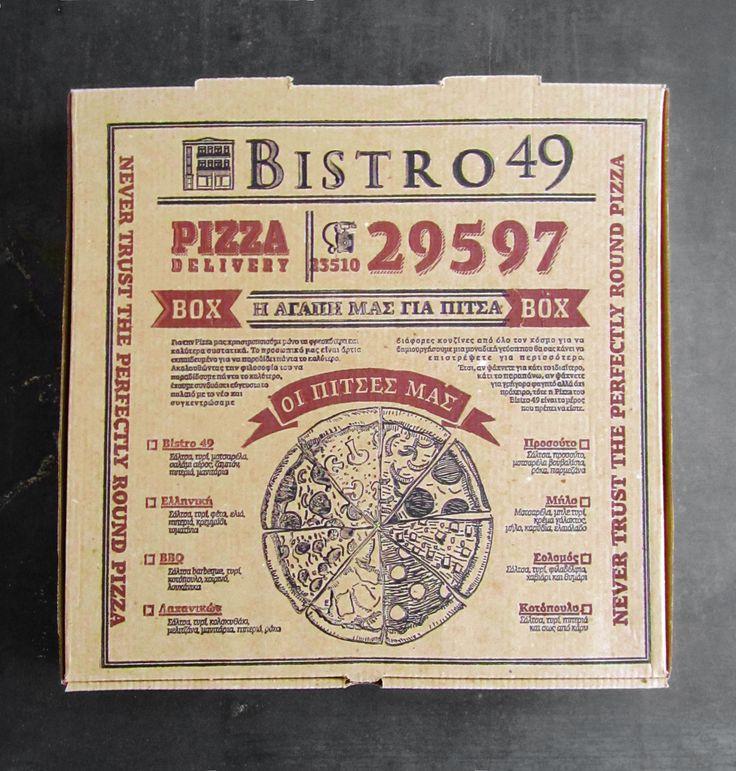 Pizza box for Bistro 49 in Katerini, Greece