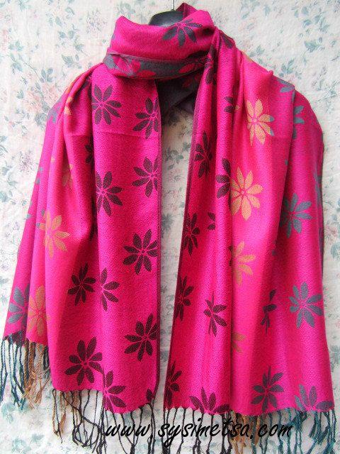 Beautiful Pink Pashmina Scarf, Pashmina Shawl, Flower Scarf, Pink Flower Scarf, Flower Scarf, Pashmina Scarf, Pashmina