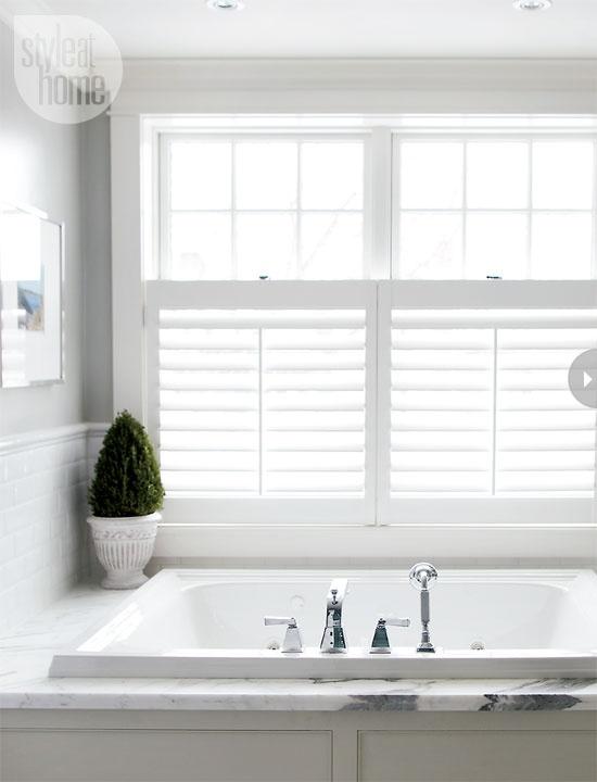 40 best bathroom inspiration plantation shutters images - Best window treatments for bathrooms ...