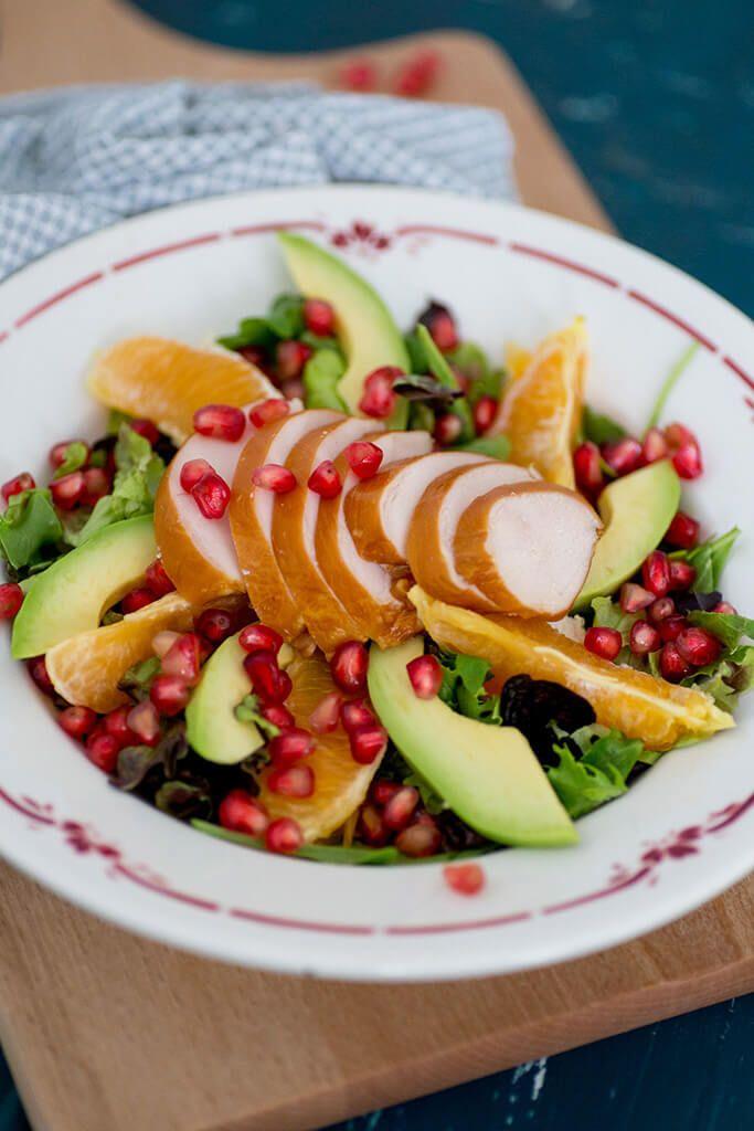 Salade met kip en granaatappel - Paleo Recepten.nl
