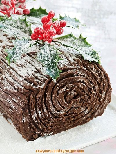 Recipe for chocolate cake roll with whipped cream filling and chocolate frosting, decorated to look like a log.