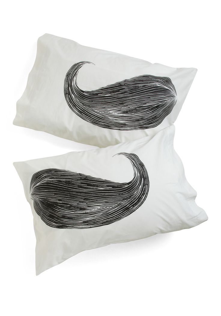 Whisker Me to Sleep Pillowcase Set - White, Rockabilly, Dorm Decor, Quirky, Black, Cotton, Top Rated