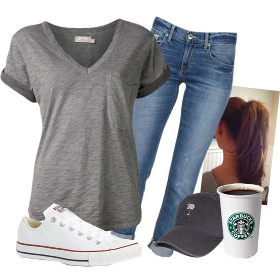 Take a look at the best simple college outfits in the photos below and get ideas for your own outfits!!! Attractive College Outfits For Girls (7) Image source