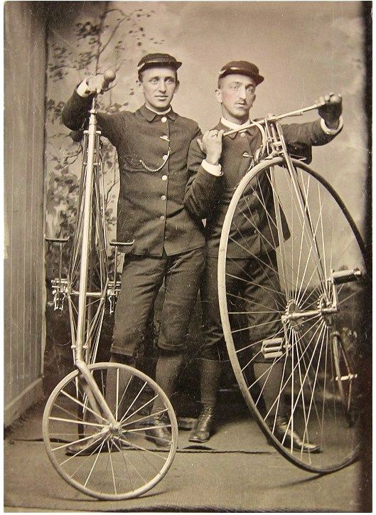 Telegraph Messengers posing with their High Wheelers - Tintype taken in the 1880s. @designerwallace