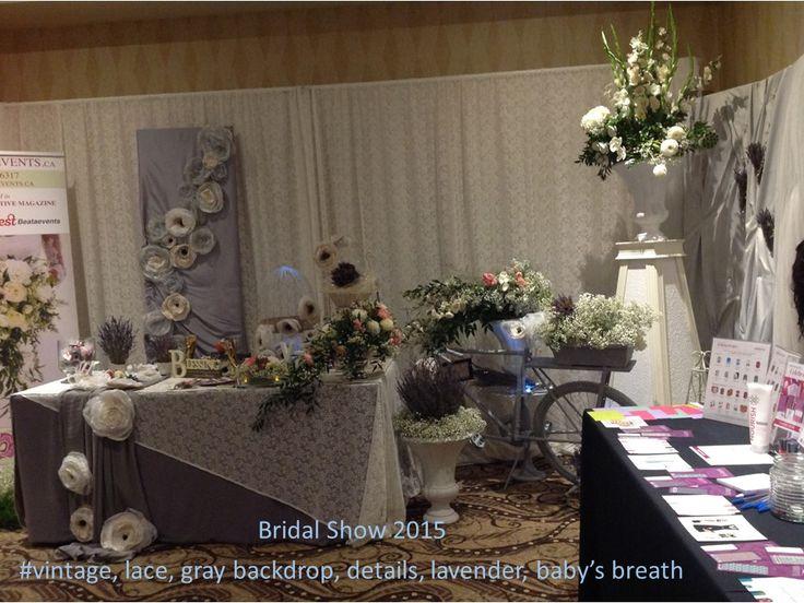Bridal Show 2015 #vintage, lace, gray backdrop, details, lavender, baby's breath