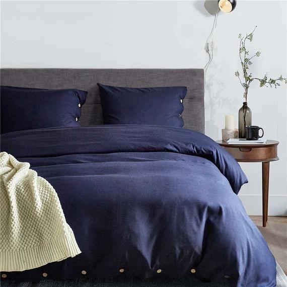 Solid Color Dark Blue Duvet Cover Holiday Comfortable Buttons Etsy Duvet Cover Sets Blue Duvet Cover King Size Duvet Covers