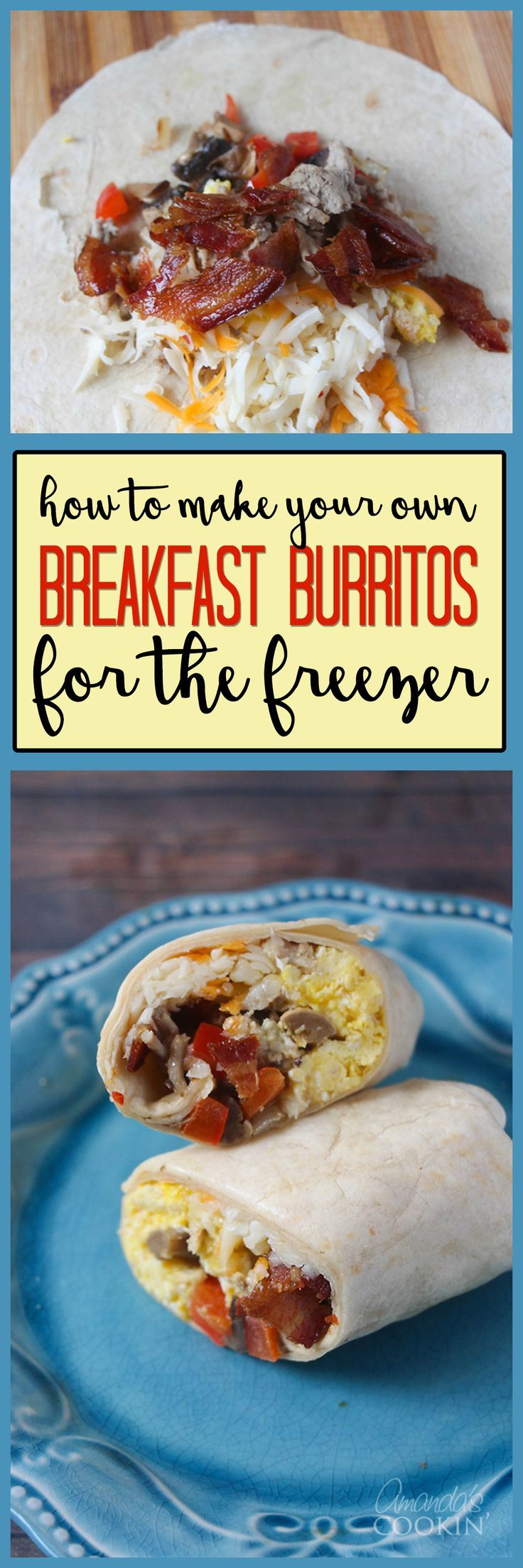 I make these breakfast burritos to freeze so we make sure we eat before running out the door. These are a great breakfast option for a fast paced life!