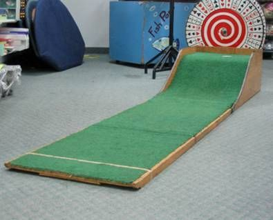 Mini-Putt Game. The Mini-Putt Game meaures 10' long unfolded, but folds for transporting (comes with wheels).  A golf club and 3 balls are included with this game.