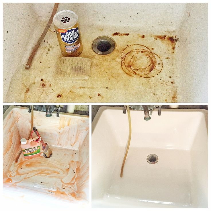 Bar Keepers Friend cleans the utility sink. You can't even tell it was covered in paint .