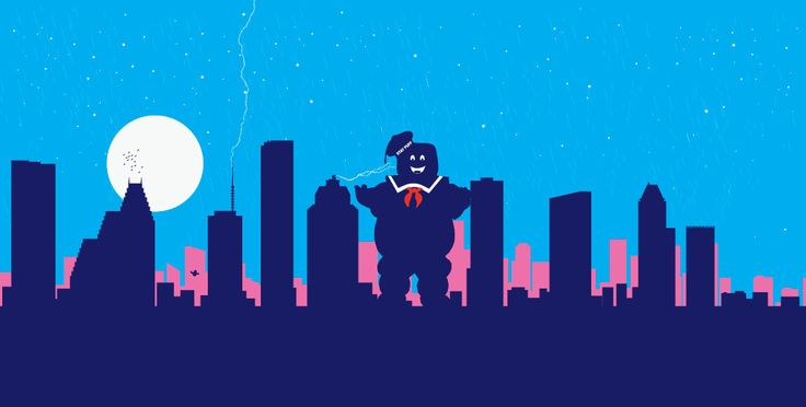 Houston, Texas Skyline, Marshmallow man Ghostbusters inspired print -Slimer or onion head skyworld NYC poster by SKYWORLDPROJECT on Etsy https://www.etsy.com/listing/187470358/houston-texas-skyline-marshmallow-man