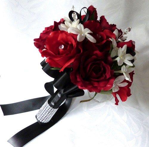 RED BLACK WHITE ROSES WEDDING FLOWERS