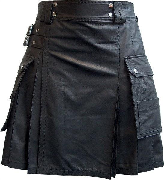 Black Leather Utility Modern Kilt  Black Custom Made by KiltTailor,