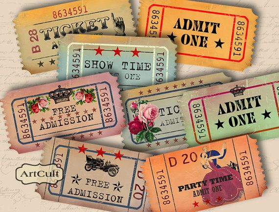 ADMIT ONE - Vintage Style Tickets for Scrapbooking - Digital Collage Sheet - Printable Download - Vintage Paper Craft Supply. $4.60, via Etsy.